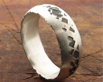 Lakeland Path rustic mens wedding ring in black and white silver 8mm wide band.