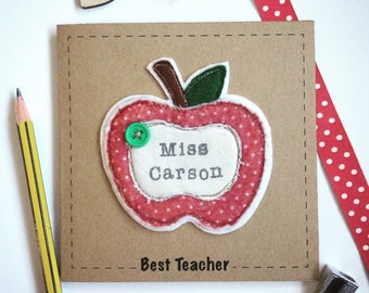 Stitched apple personalised card