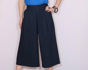 Navy linen culottes High waist Wide leg capris with pockets Mid calf pants