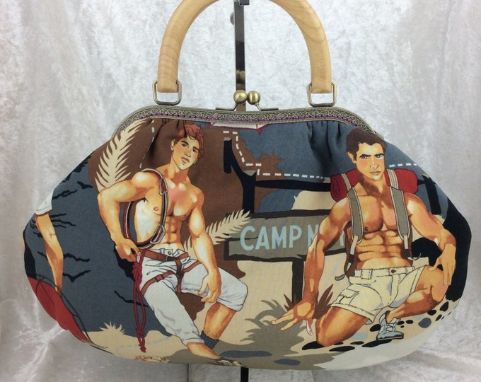 Hunky Camping Hikers Betty frame handbag Alexander Henry Outdoorsy camping design fabric bag purse handmade in England