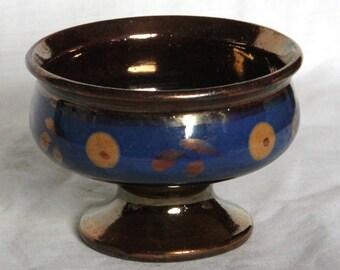 Vintage or Antique Copper Lustre and Blue Pedestal Sugar Bowl