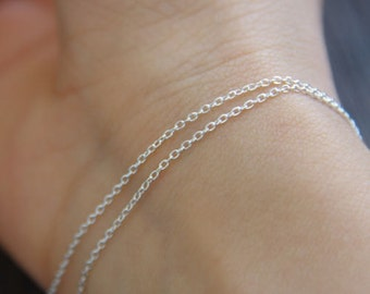 1 Meter Solid 925 Sterling Silver Round Cable Chain Oval Welded Link