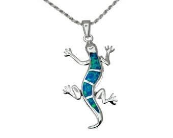 silver lizard pendant with blue opal,lizard necklace,lizard jewelry,blue opal pendant,statement pendant,animal jewelry,silver lizard