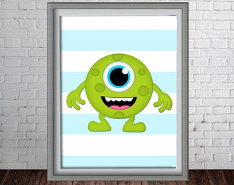 Printable Wall Art Print - 8x10 Monster - Green Monster - Instant Download - Can Customize