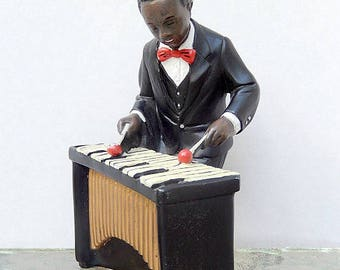 Marimba player figurine, musician, artist signed 1991, home decor, collectible, vintage