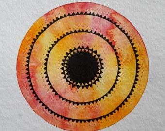 "original painting ""red and yellow mandala"""