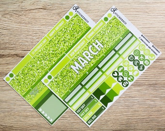 March Monthly Planner Stickers Kit for Erin Condren
