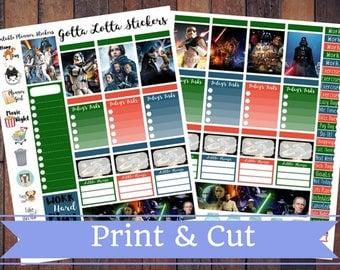 50% Off SALE \ STAR WARS \ Instant Download Printable Vertical Planner Kit \ Planner Stickers \ Scrapbook \ Journal Clip Art