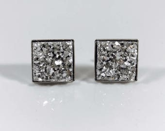 Druzy square earrings, 12mm Silver Textured Druzy Stud