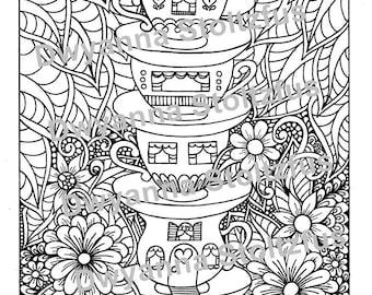 Teacup House Coloring Page JPG