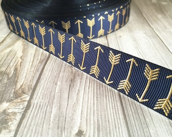 Arrow ribbon - Navy and gold ribbon - Boho arrows - Metalic foil ribbon - Coachella ribbon - Bohemian ribbon - Trendy ribbon - 3 or 5 yards