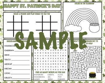 Kids St. Patrick's Day Activity Printable Placemat Instant Download