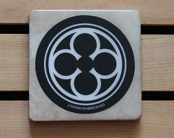 Monkish Brewing Tumbled Stone Coaster from Upcycled Beer Stickers. Beer Coasters. Drink Coasters. Beer Gift