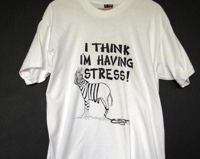 Novelty Funny Zebra Stress 1980's vintage Tshirt
