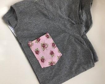 Tshirt, Pink Floral Pocket Tee