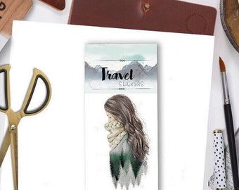 GREEN FOREST GIRL  - winter travel flake stickers for travel wanderlust  explore travelers notebbook flake cabin camping handmade watercolor