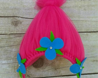 Poppy trolls headband, Princess Poppy headband, trolls headband, trolls hair accessorie, Poppy and branch headband, pink trolls headbands