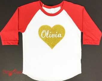 Gold Heart Valentine's Day Shirt, Sparkling Heart, Valentine, Kids Valentine's shirt, , Boys Valentine's Shirt, Girls Valentine's Shirt
