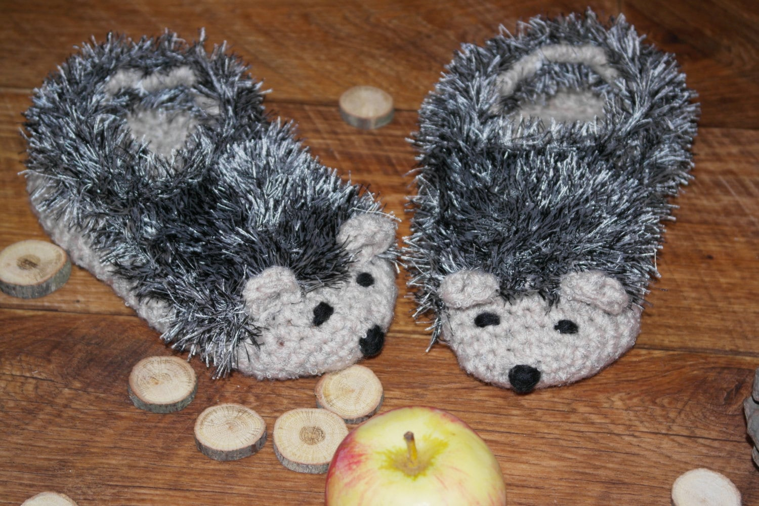 Hedgehog Slippers Knitting Pattern : Hand Knit gray Hedgehog Slippers Shoes Booties for women and