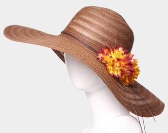 Brown Wide Brim Flower Straw Floppy Sun Hat