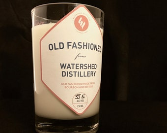 Recycled Watershed Distillery Old Fashioned Bottle Candle