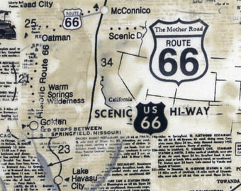 1/2 yd Route 66 Map Fabric by Timeless Treasures C7529-NAT