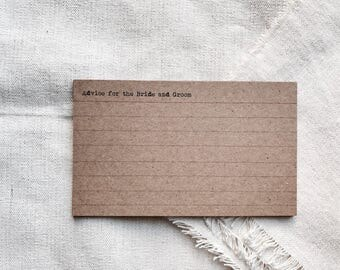 Set 25 - customized index card - wedding guest book - rustic guest book - Wedding advice - vintage guest book - rustic advice card -index