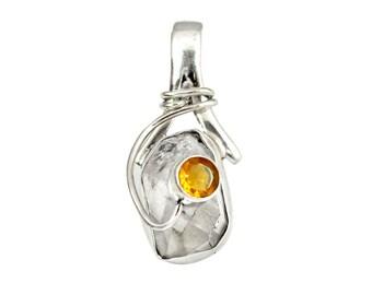 Women Small Herkimer Pendant-Citrine & Herkimer Diamond Pendant 925 Sterling Silver Jewelry Design