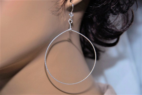 Large Drop Hoop Lightweight Silver-Filled Earrings with Swarovski Crystal Accents. Solid 925 Sterling Silver Ear Wires. Fancy Twist Design