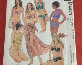 M4471 McCall's Misses' Two-Piece Bathing Suits and Pareo Sewing Pattern P232