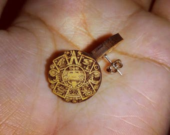 Wooden Aztec Calendar Stud Earrings