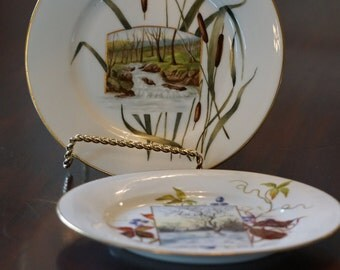 Set of 2 Hand Painted Plates with Landscape Scenes/ Dessert Plates/ Trees/ Cattails/ Summer Scene/ Winter Scene/ Aesthetic China/ Cottage