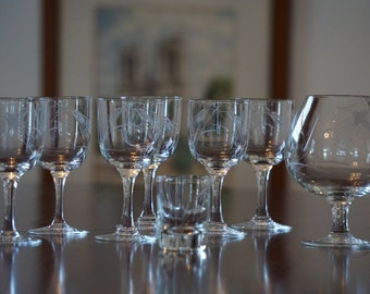 Vintage Cordial Glasses/ Brandy Snifter/ Shot Glass/ Etched Wheat Pattern/ Ready to repurpose/ Use as vases/ Wedding Decor