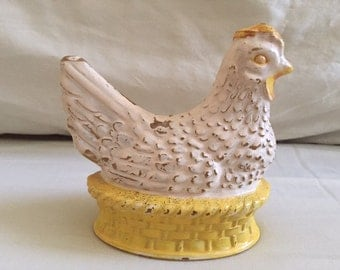 Vintage Painted Glass Chicken Collectible