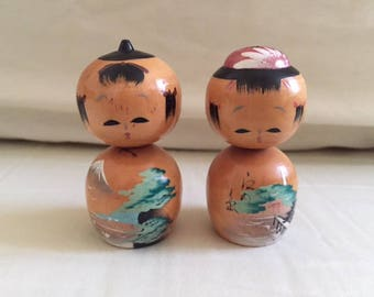 Vintage Pair Adorable Hand Painted Wooden Kokeshi Dolls