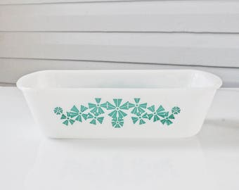 Vintage Turquoise Pinwheel Glasbake Loaf Pan-Aqua Flowers