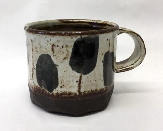 black polkadot mug // handmade // ceramic // handcarved