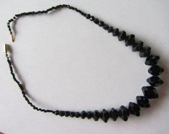 """Antique Victorian French jet bead necklace, large faceted glass beads. 15 carat gold catch. 16"""" black bead necklace . Restrung."""