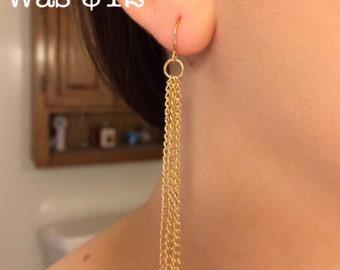 Gold Chain Tassel Earrings / Gold Dangle Earrings / Long Gold Earrings / Chain Earrings