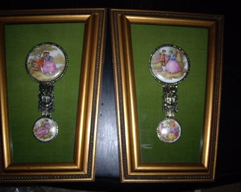 2 Framed Porcelain Handpainted Victorian Theme