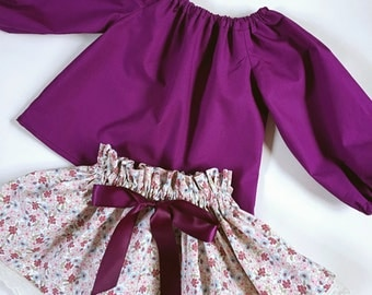 Purple Girls Foral Skirt, Frilly Top Skirt, Skirt and Peasant Top, Twirl Skirt, Floral Twirl Skirt, Purple Peasant Top, Babies Cake Smash