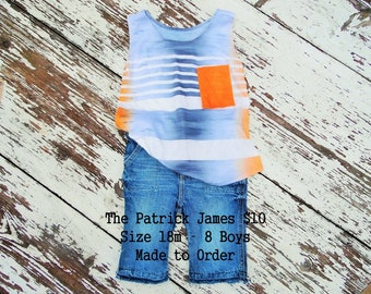 Boys Tank Made to Order Orange Gray Sizes 18 months - 12 years