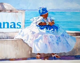 Black Art, Watercolor Painting, Brazil Watercolor, Blue Bahian Woman, Brazil, African Art, Home Art, Blue Watercolor Print