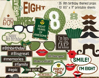 Photo Booth Props, HAPPY 8TH BIRTHDAY, boy, printable props, instant digital download, camo, green, brown, birthday party