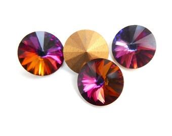 Vintage Swarovski Rivoli crystal rhinestones, art 1122, vitrail (red rainbow) - 14 mm - 2 pcs - C28-4