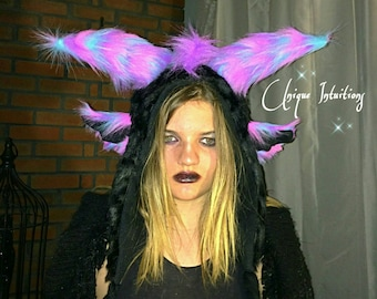 Pastel Gothic Luxury Faux Fur Dragon Hat, Fantasy Fur Animal Hood, Ram,Goat,Devil,Demon Horns, Monster Rave Hood, Cosplay, Halloween costume