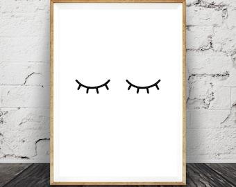 Eyelashes Print, Nursery Wall Art, Children's, Kids Room Decor Poster, Girl's Printable Digital Download, Black and White, Modern Minimalist