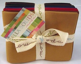 Moda BELLA SOLIDS Darks 10 Fat Quarters Quilt Fabric Bundle 9900AB 22