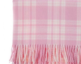 Free Personalisation - Luxury Pink Check Lambswool Baby Blanket. An ideal gift for new baby, girl,Christening, naming