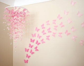 Butterfly Crib Mobile and 3D Butterfly Wall Decor: Pink Butterflies, Ombre, Baby shower, Nursery Decor, Birthday, Photo prop, Decor.